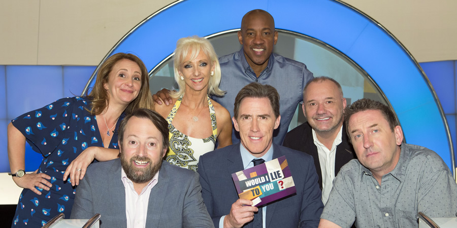 Would I Lie To You?. Image shows from L to R: Lucy Porter, David Mitchell, Debbie McGee, Rob Brydon, Dion Dublin, Bob Mortimer, Lee Mack. Copyright: Zeppotron.