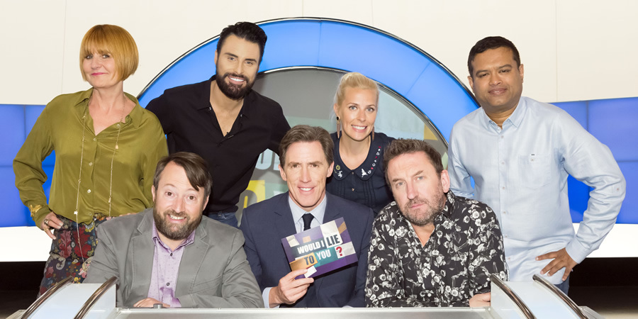 Would I Lie To You?. Image shows from L to R: Mary Portas, David Mitchell, Rylan Clark-Neal, Rob Brydon, Sara Pascoe, Lee Mack, Paul Sinha. Copyright: Zeppotron.