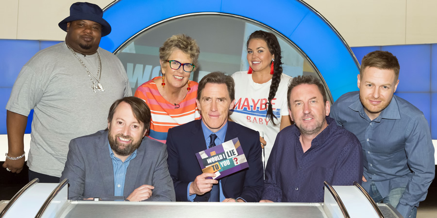 Would I Lie To You?. Image shows from L to R: Big Narstie, David Mitchell, Prue Leith, Rob Brydon, Scarlett Moffatt, Lee Mack, Tomasz Schafernaker. Copyright: Zeppotron.