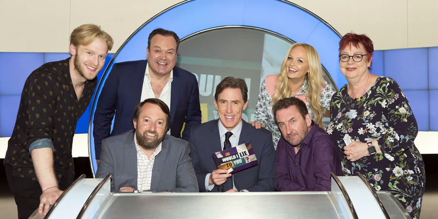 Would I Lie To You?. Image shows from L to R: Jonnie Peacock, Shaun Williamson, David Mitchell, Rob Brydon, Emma Bunton, Lee Mack, Jo Brand. Copyright: Zeppotron.