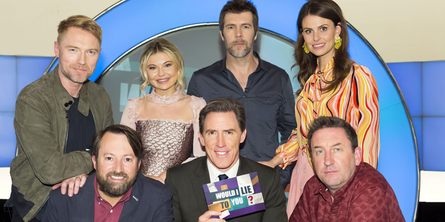 Would I Lie To You?. Image shows from L to R: Ronan Keating, David Mitchell, Georgia Toffolo, Rob Brydon, Rhod Gilbert, Ellie Taylor, Lee Mack. Copyright: Zeppotron.