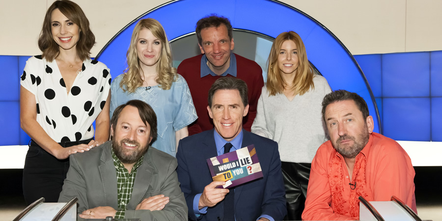 Would I Lie To You?. Image shows from L to R: Alex Jones, David Mitchell, Rachel Parris, Henning Wehn, Rob Brydon, Stacey Dooley, Lee Mack. Copyright: Zeppotron.