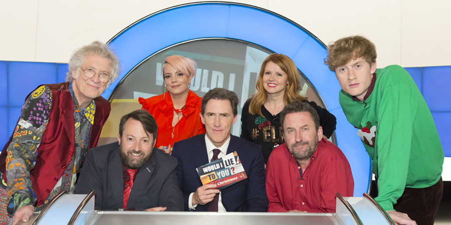 Would I Lie To You?. Image shows from L to R: Noddy Holder, David Mitchell, Lily Allen, Rob Brydon, Sian Gibson, Lee Mack, James Acaster. Copyright: Zeppotron.