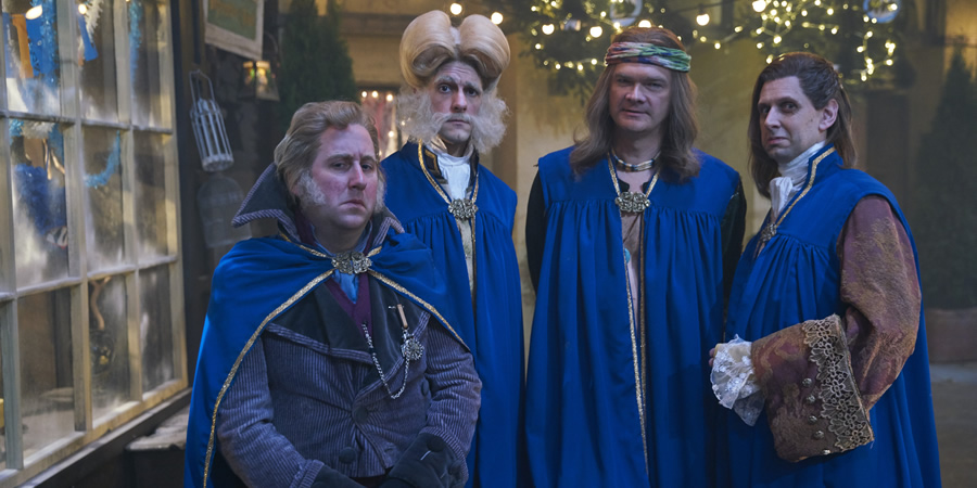 Yonderland. Image shows from L to R: Jim Howick, Mathew Baynton, Simon Farnaby, Laurence Rickard. Copyright: Working Title Films.