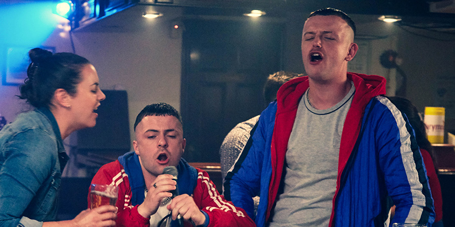 The Young Offenders. Image shows from L to R: Mairead MacSweeney (Hilary Rose), Conor MacSweeney (Alex Murphy), Jock O'Keeffe (Chris Walley).