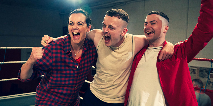 The Young Offenders. Image shows from L to R: Mairead MacSweeney (Hilary Rose), Jock O'Keeffe (Chris Walley), Conor MacSweeney (Alex Murphy).