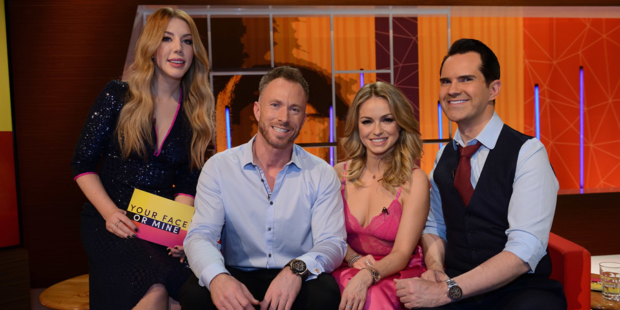Your Face Or Mine. Image shows from L to R: Katherine Ryan, James Jordan, Ola Jordan, Jimmy Carr. Copyright: Talkback.