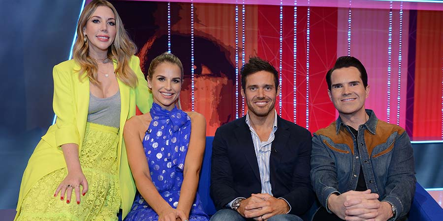 Your Face Or Mine. Image shows from L to R: Katherine Ryan, Vogue Williams, Spencer Matthews, Jimmy Carr. Copyright: Talkback.