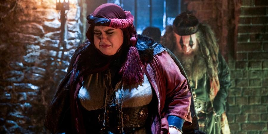 Zapped. Image shows from L to R: Barbara (Sharon Rooney), Howell (Paul Kaye).