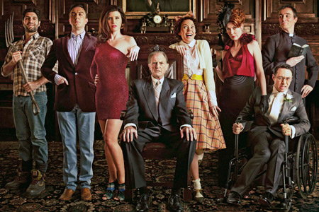 Bad Sugar. Image shows from L to R: Simon (Kayvan Novak), Rolph Cauldwell (Peter Serafinowicz), Lucy Cauldwell (Sharon Horgan), Ralphfred Cauldwell (David Bradley), Joan Cauldwell (Olivia Colman), Daphne Cauldwell (Julia Davis), Greg (Reece Shearsmith), Rodrigo (Derek Riddell). Image credit: Tiger Aspect Productions.