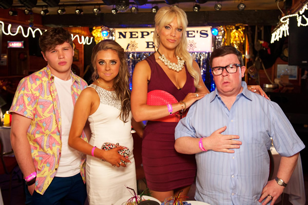 Benidorm. Image shows from L to R: Tiger Dyke (Danny Walters), Bianca Dyke (Bel Powley), Tonya Dyke (Hannah Waddingham), Clive Dyke (Perry Benson). Image credit: Tiger Aspect Productions.