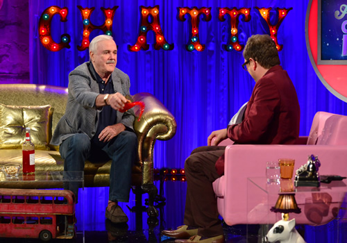 Alan Carr: Chatty Man. Image shows from L to R: John Cleese, Alan Carr. Copyright: Open Mike Productions.