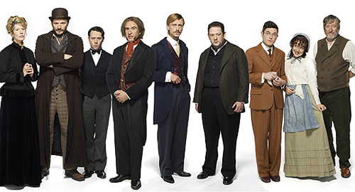 Chekhov: Comedy Shorts. Image shows from L to R: Popova (Julia Davis), Smirnoff (Julian Barratt), Butler (Reece Shearsmith), Nyukhin (Steve Coogan), Murashkin (Mackenzie Crook), Tolkachov (Johnny Vegas), Lomov (Mathew Horne), Natasha (Sheridan Smith), Natasha's Father (Philip Jackson). Copyright: Baby Cow Productions.