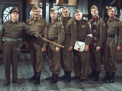 Dad's Army. Image shows from L to R: Captain Mainwaring (Arthur Lowe), Sergeant Wilson (John Le Mesurier), Lance Corporal Jones (Clive Dunn), Private Frazer (John Laurie), Private Godfrey (Arnold Ridley), Private Pike (Ian Lavender), Private Walker (James Beck). Copyright: BBC.