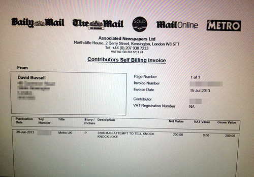 Picture of The Daily Mail invoice confirming payment of £200.