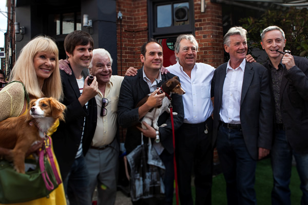 Graham Chapman's Blue Plaque Unveiling. Image shows from L to R: Carol Cleveland, Ben Timlett, Barry Cryer, Bill Jones, Terry Jones, Michael Palin, Jeff Simpson.