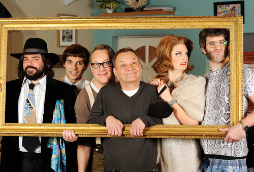 House Of Fools. Image shows from L to R: Beef (Matt Berry), Erik (Daniel Simonsen), Vic (Vic Reeves), Bob (Bob Mortimer), Julie (Morgana Robinson), Bosh (Dan Skinner). Copyright: BBC / Pett Productions.