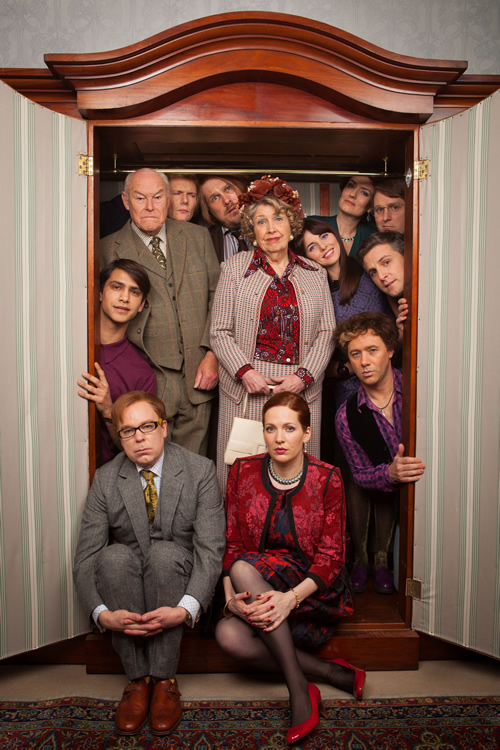 Inside No. 9. Image shows from L to R: Lee (Luke Pasqualino), Andrew (Timothy West), Carl (Steve Pemberton), Mark (Julian Rhind-Tutt), John (Marc Wootton), Geraldine (Anne Reid), Rebecca (Katherine Parkinson), Rachel (Ophelia Lovibond), Elizabeth (Anna Chancellor), Ian (Tim Key), Jeremy (Ben Willbond), Stu (Reece Shearsmith). Copyright: BBC.