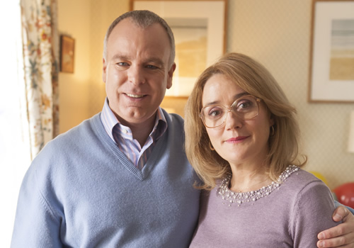 Inside No. 9. Image shows from L to R: Graham (Steve Pemberton), Jan (Sophie Thompson). Copyright: BBC.