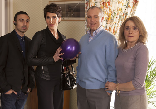 Inside No. 9. Image shows from L to R: Si (Adam Deacon), Sally (Tamsin Greig), Graham (Steve Pemberton), Jan (Sophie Thompson). Copyright: BBC.