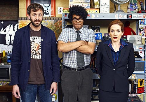 The IT Crowd. Image shows from L to R: Roy (Chris O'Dowd), Moss (Richard Ayoade), Jen (Katherine Parkinson). Image credit: TalkbackThames.