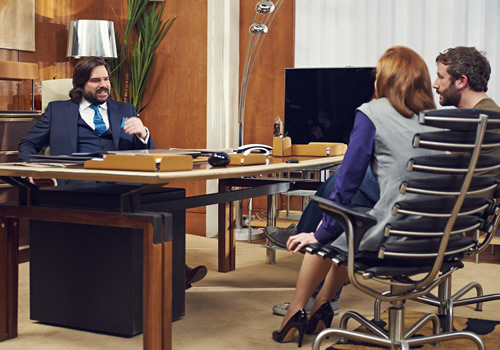 The IT Crowd. Image shows from L to R: Douglas Reynholm (Matt Berry), Jen (Katherine Parkinson), Roy (Chris O'Dowd). Image credit: TalkbackThames.