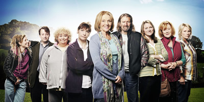 Jam & Jerusalem. Image shows from L to R: Tash Vine (Sally Phillips), Dr James Vine (David Mitchell), Rosie Bales (Dawn French), Tip Haddam (Pauline McLynn), Sal Vine (Sue Johnston), Jock (Clive Russell), Kate Bales (Rosie Cavaliero), Eileen Pike (Maggie Steed), Caroline Martin (Jennifer Saunders). Copyright: BBC.