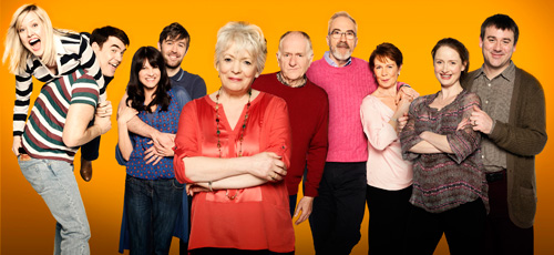 Love And Marriage. Image shows from L to R: Sarah Paradise (Ashley Jensen), Kevin Paradise (Stewart Wright), Heather McCallister (Niky Wardley), Charlie McCallister (James McArdle), Pauline Paradise (Alison Steadman), Ken Paradise (Duncan Preston), Tommy Sutherland (Larry Lamb), Rowan Holdaway (Celia Imrie), Michelle Paradise (Zoe Telford), Martin Paradise (Graeme Hawley). Image credit: Tiger Aspect Productions.