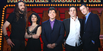 Michael McIntyre's Comedy Roadshow. Image shows from L to R: Steve Hughes, Shappi Khorsandi, Michael McIntyre, Tom Stade, Paul Tonkinson. Copyright: Open Mike Productions.