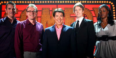 Michael McIntyre's Comedy Roadshow. Image shows from L to R: Steve Williams, Sean Lock, Michael McIntyre, Alun Cochrane, Ava Vidal. Copyright: Open Mike Productions.