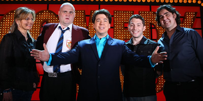 Michael McIntyre's Comedy Roadshow. Image shows from L to R: Jo Caulfield, Al Murray, Michael McIntyre, Jon Richardson, Micky Flanagan. Copyright: Open Mike Productions.