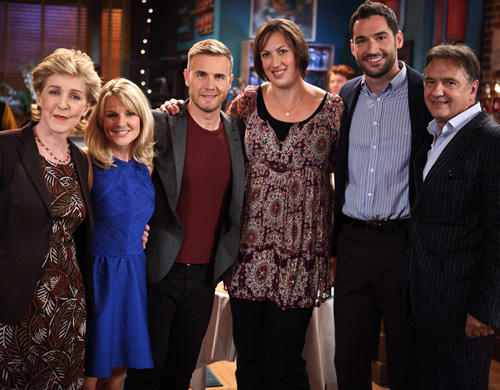 Miranda. Image shows from L to R: Penny (Patricia Hodge), Stevie (Sarah Hadland), Gary Barlow, Miranda (Miranda Hart), Gary (Tom Ellis), Raymond Blanc. Image credit: British Broadcasting Corporation.