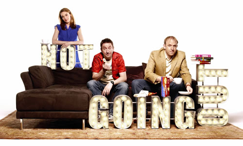 Not Going Out. Image shows from L to R: Lucy (Sally Bretton), Lee (Lee Mack), Tim (Tim Vine). Copyright: Avalon Television / Arlo Productions.