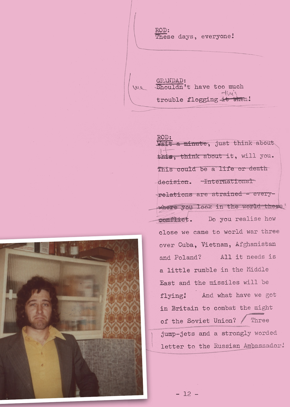 Only Fools And Horses script extract, annotated by John Sullivan. With a picture of John Sullivan. Copyright: BBC Books.
