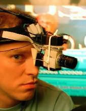 Robert Webb wearing a special camera during the filming of Peep Show. The camera records what he is looking at. Jeremy Osborne (Robert Webb). Copyright: Objective Productions.