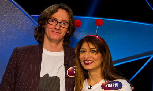 Pointless Celebrities. Image shows from L to R: Ed Byrne, Shappi Khorsandi. Image credit: Remarkable Television.