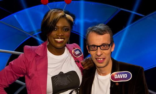 Pointless Celebrities. Image shows from L to R: Andi Osho, David Schneider. Image credit: Remarkable Television.