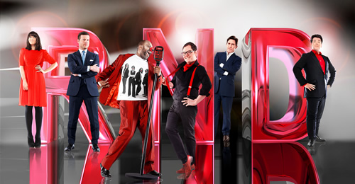 Red Nose Day 2013. Image shows from L to R: Claudia Winkleman, Dermot O'Leary, Lenny Henry, Alan Carr, Rob Brydon, Michael McIntyre.