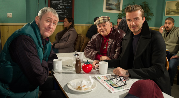 Only Fools And Horses - Sport Relief. Image shows from L to R: Rodney (Nicholas Lyndhurst), Del (David Jason), David Beckham. Copyright: BBC.