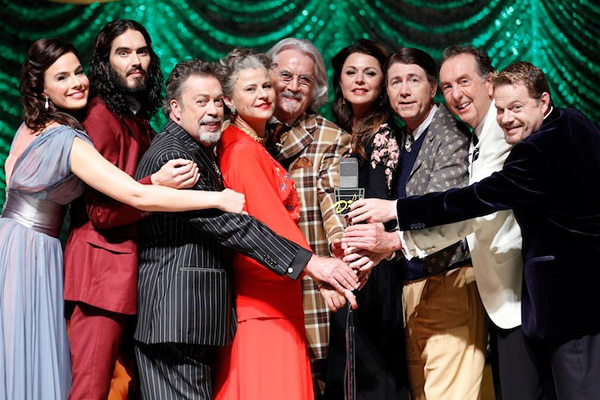 What About Dick?. Image shows from L to R: Sophie Winkleman, Russell Brand, Tim Curry, Tracey Ullman, Billy Connolly, Jane Leeves, Jim Piddock, Eric Idle, Eddie Izzard.