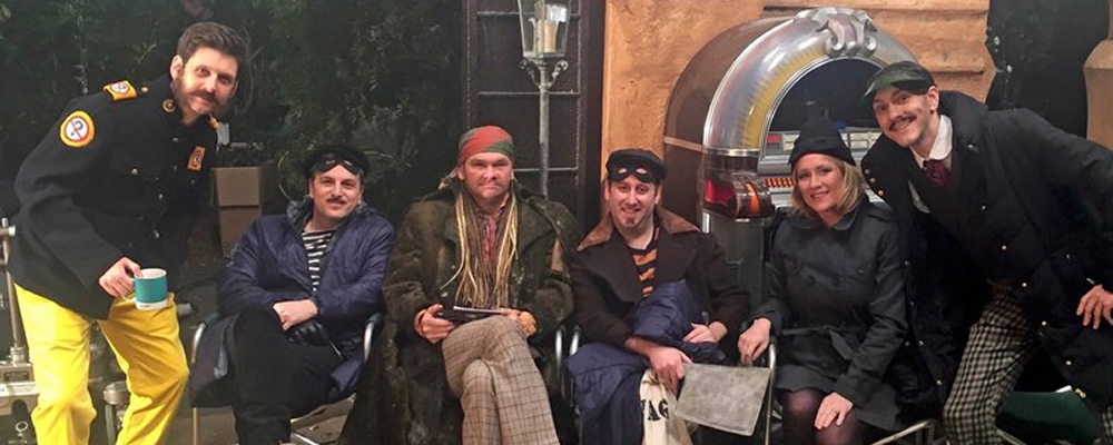 Yonderland. Image shows from L to R: Laurence Rickard, Ben Willbond, Simon Farnaby, Jim Howick, Debbie Maddox (Martha Howe-Douglas), Mathew Baynton.