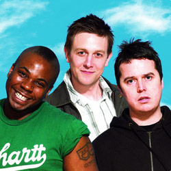 AAA Stand-Up. Image shows from L to R: Marlon Davis, Matt Rudge, Paul McCaffrey. Copyright: BBC.