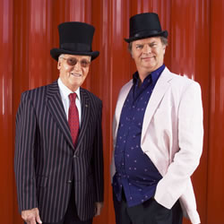 Just A Minute. Image shows from L to R: Nicholas Parsons, Paul Merton. Copyright: Central Independent Television.