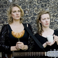 The Aspidistras - Secret Breakfast Gig. Image shows from L to R: Maria Hodson, Gerardine Coyne. Copyright: London Weekend Television.