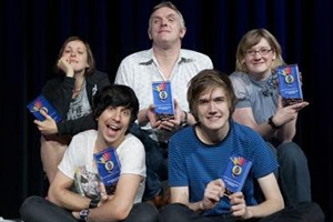 Image shows from L to R: Josie Long, Russell Kane, Greg Davies, Bo Burnham, Sarah Millican.