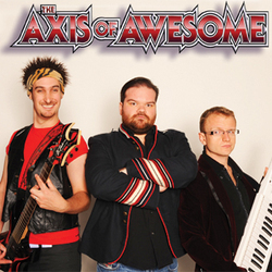 The Axis of Awesome. Image shows from L to R: Lee Naimo, Jordan Raskopoulos, Benny Davis.