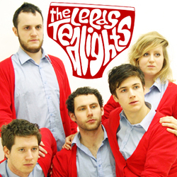 The Leeds Tealights: Animals with Jobs. Image shows from L to R: Ed Smith, Jack Barry, Pete Starr, Patrick Turpin, Annie McGrath. Copyright: Komedia Entertainment / Smooth Operations.