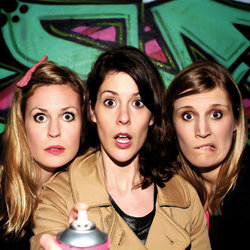 The Boom Jennies: Mischief. Image shows from L to R: Lizzie Bates, Catriona Knox, Anna Emerson.