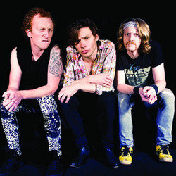 Dead Cat Bounce... Howl of the She-Leopard. Image shows from L to R: Demian Fox, James Walmsley, Shane O'Brien. Copyright: BBC.