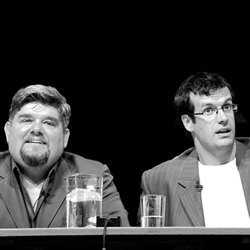 The Early Edition. Image shows from L to R: Andre Vincent, Marcus Brigstocke.